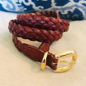 cognac brown genuine leather braided belt L